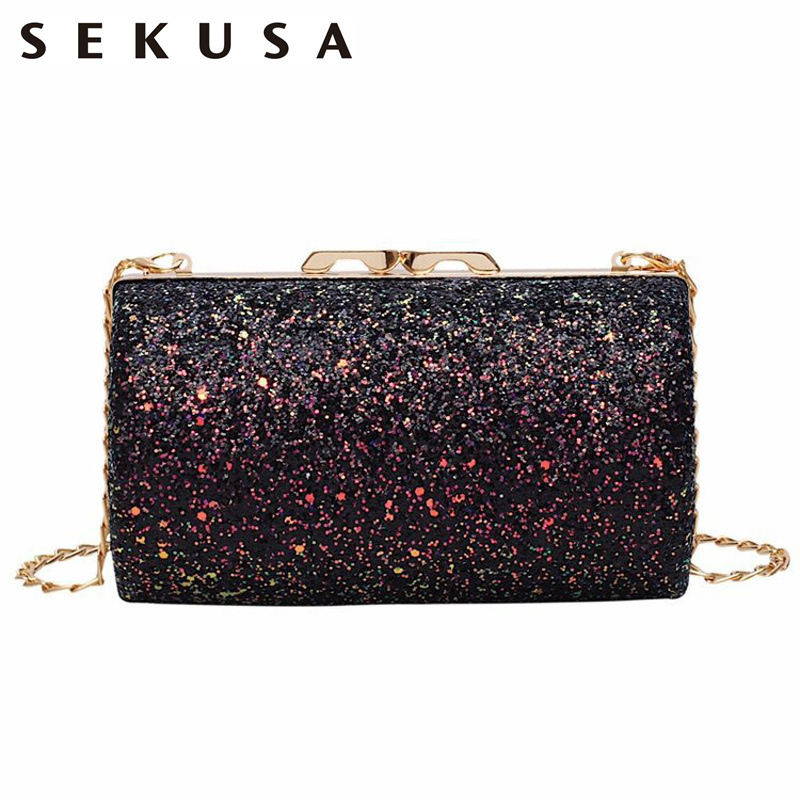SEKUSA Luxury Wedding Bridal Handbags Bling Bling Laides Evening Bags With Shoulder Handbags Wedding Party Purse