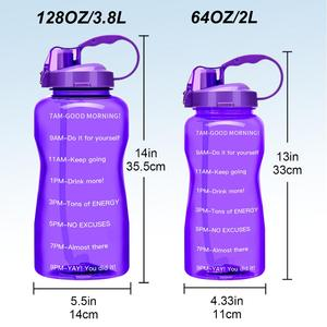 Image 2 - QuiFit 2L 3.8L Gallon Tritan Sports Water bottle with Straw Big Protein Shaker Drink Bottles Gourd Cup jug BPA Free Outdoor GYM