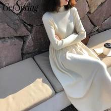 GetSpring Women Dress Turtleneck Long Sleeve Sweater Knitted Dress High Waist Long Dresses Bottoming Dresses Autumn Winter(China)