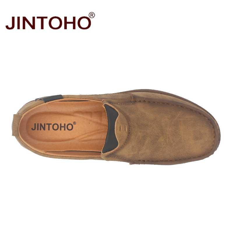 JINTOHO moda marka mężczyźni buty mężczyźni oryginalne skórzane buty przypadkowi mężczyźni buty męskie skórzane buty Slip On Men mokasyny