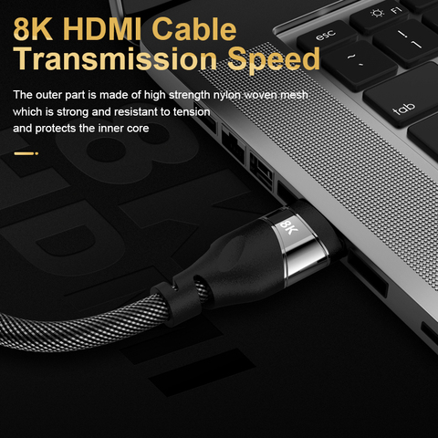 HDMI 2.1 video Cable Copper 8K@60 HZ 4K@120HZ UHD HDR 48Gbps cable HDMI Converter for PS4 HDTVs Projectors High Speed 8K 1M 2M Multan