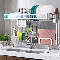 Prato de metal escorredor pia titular forte capacidade de rolamento placa rack cozinha secador de prato ganchos parede cozinha organizador prateleira armazenamento