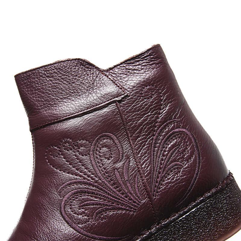2019 Winter Weiche Frauen Stiefel Booties Flache Schuhe Bestickte Echtem Leder plattform Stiefel Mode Frauen Schuhe Pelz Stiefeletten