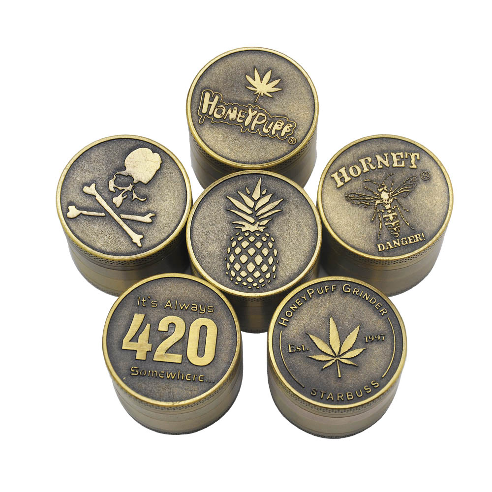 Bronze color Zinc Alloy Herb Grinder 40MM 4 layer Metal Mini Tobacco Grinders with Pollen Catcher Smoke Pipe Accessories