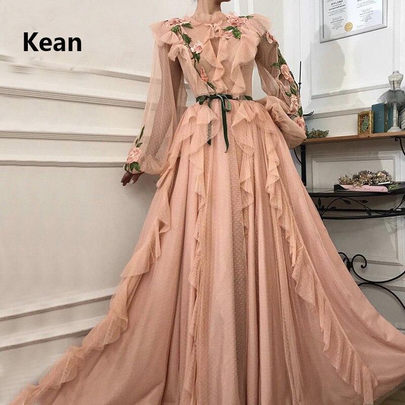 Peach Muslim Evening Dress Lace Full Sleeve Lantern Slit Illusion Islamic Dubai Kaftan Saudi Arabic Formal Dress Boho Prom Dress