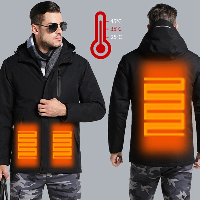 Couples USB Heated Jacket Men Women Plus Size Waterproof Jacket Men Down Cotton Hiking Coat Warm Rain Jacket Regenjacke Herren