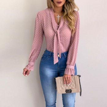 Women Polka Dot Mesh Sheer Long Sleeve V neck Tops Office Lady Shirt Blouse Tee Shirt With Tie Womens Tops kids polka dot tee