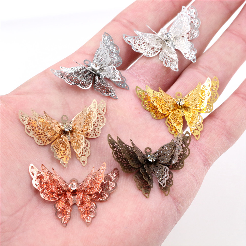 10pcs 35x25mm Metal Copper Rhinestone Butterfly Filigree Wraps Charm DIY Jewelry Accessories Findings Supplies For Jewelry