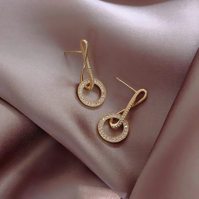 2020 New Luxury Cubic Zirconia Pendant Earrings Woman High Fashion Crystal Korean Earrings Anniversary Gift Jewelry for Girls