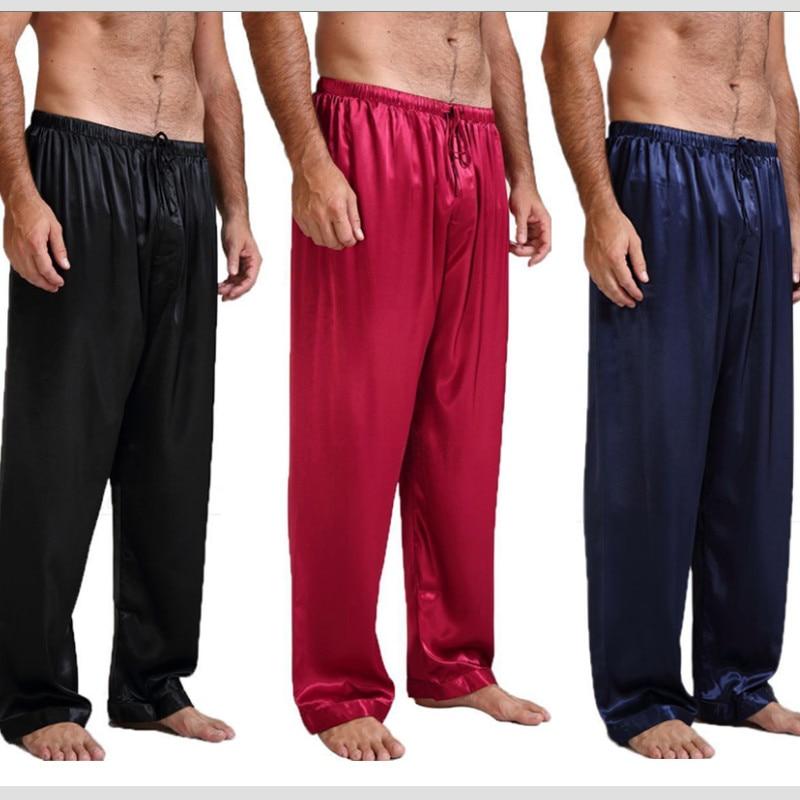 Spring Summer Mens Satin Pajamas Sleep Lounge Pants Male Pajama Sleep Pants Men Sleepwear Men Soft Loose Sleep Bottom S-XL
