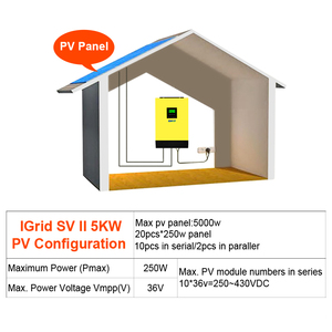 Image 5 - היברידי שמש מהפך 5000W 48V 220V גבוהה PV קלט 450Vdc MPPT שמש מטען 80A סוללה מטען רשת קשור מהפך