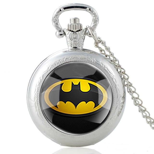 Classic Bronze Batman Design Glass Dome Quartz Pocket Watch Vintage Men Women Clock Chain Pendants Jewelry
