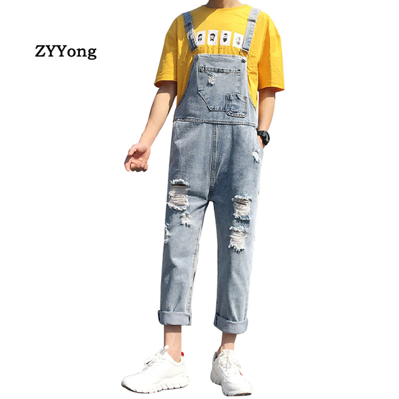 2020 Ripped Man Jeans Bib Youth Overalls Ankle Length Straight Hip Hop Hole Denim Jumpsuits Trousers Leisure Freight Cargo Pants
