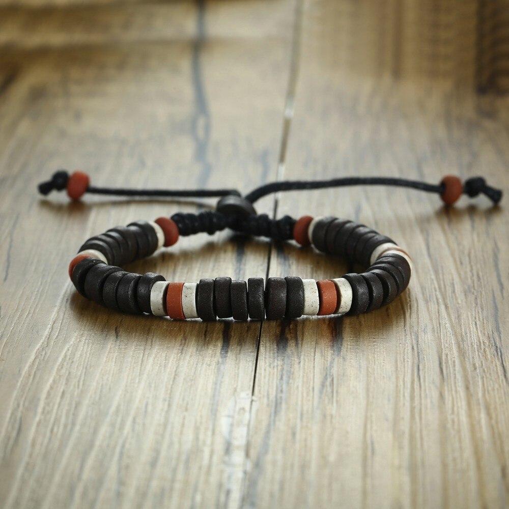 Estilo tribal africano antigo natural pedra frisada pulseira para homem feminino etnográfico unissex jóias tamanho ajustável