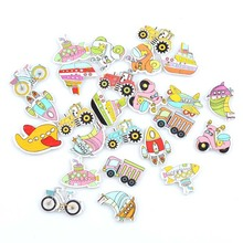 40pcs Cartoon Transport Styling Printing Buckle DIY Environmental Protection Childrens Toys Wooden Buttons Jewelry Accessories
