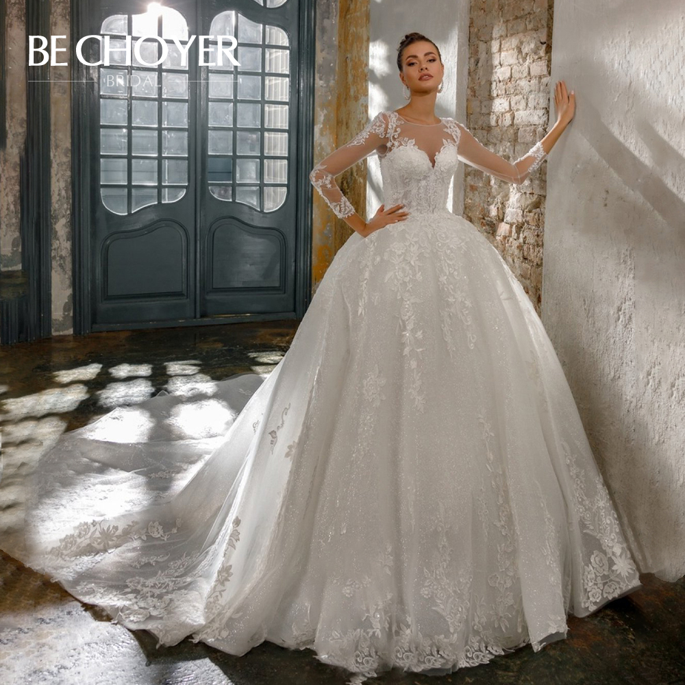 Graceful Appliques Lace Wedding Dress BECHOYER N206 Luxury Long Sleeve Quality Ball Gown  Princess Bride Gown Vestido De Noiva