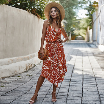 New Arrival Summer Dress Women Asymmetrical Spaghetti Straps V-Neck Sleeveless Ruched Printed Casual Dress Vestido De Festa 2020