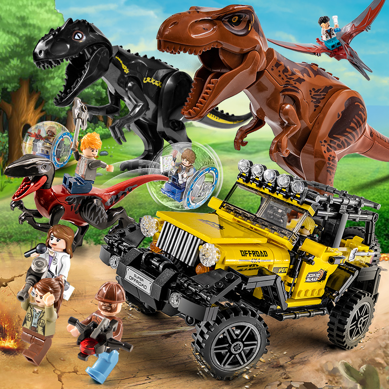 Park Dinosaurs Toys T-rex Jurassic World 2 Sets Blocks Building Animals Model Brick Figures For Kids Gift