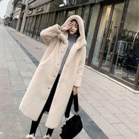 Thicken Warm Imitation Mink Fur Long Coat With Fur Trim Women Autumn Winter Elegant Hooded Mink Hair Coats Solid Loose Outwear