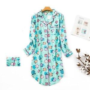 Image 2 - Женская длинная пижама из чистого хлопка, в клетку, большого размера, 2020