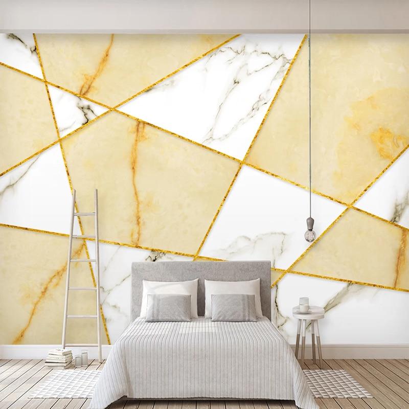 Custom Murals Photo Wallpaper Modern Golden Lines Geometric Marbling Fresco Living Room Bedroom Background Wall Covering Decor Fabric Textile Wallcoverings Aliexpress