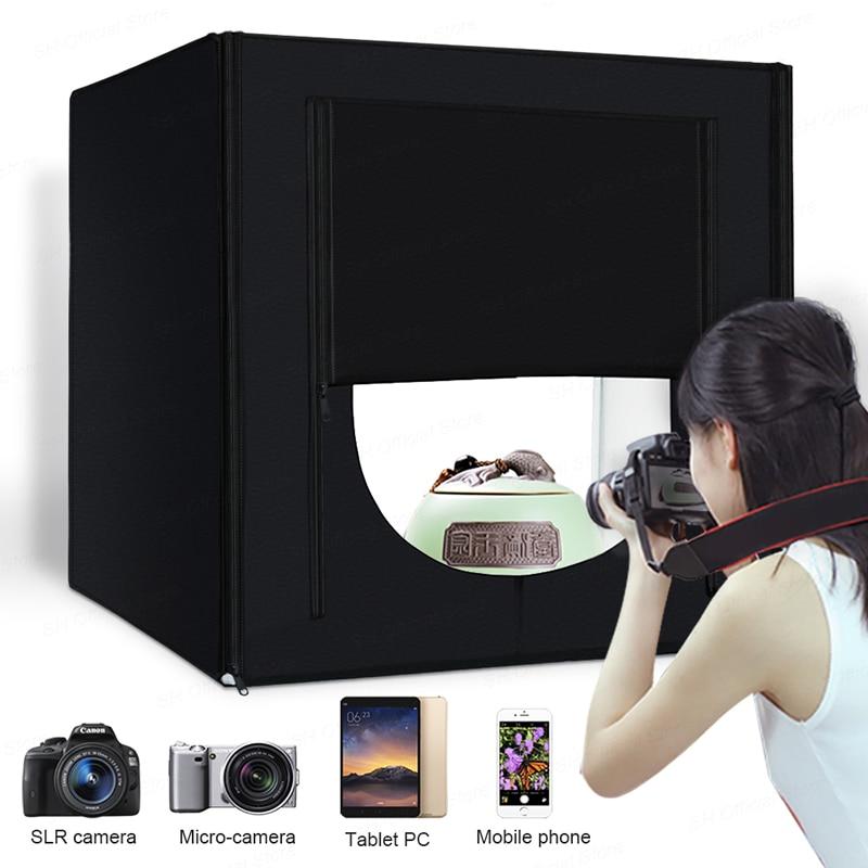 Светодиодный складной фотостудий софтбокс лайтбокс 40 см 50 см 60 см 70 см Световой тент с белыми черными аксессуары для фона световой короб - 2