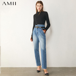 AMII Minimalism Autumn Women's Jeans Fashion Cotton High Waist Straight Pants Ankel-length Causal Female Jeans 12040713