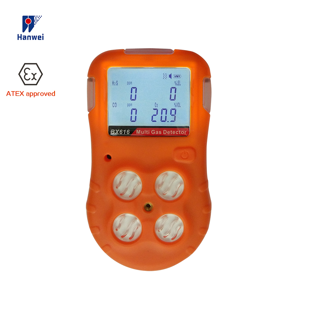 BX616 Multi Gas  Detector 4 In 1 Portable Gas Detector Oxygen O2 H2S Carbon Monoxide CO Combustible LEL Analyzer ATEX Approved