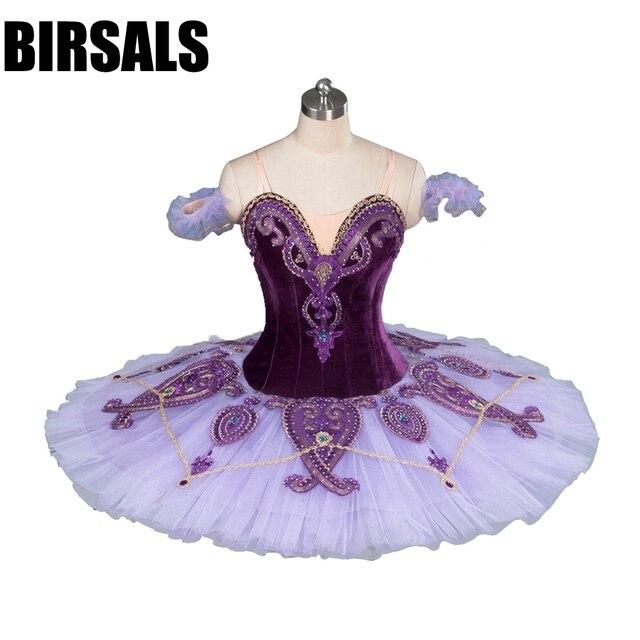 Kadın klasik kostüm Tutu bale dans profesyonel bale Tutu kostümleri tabağı rekabet bale Tutu mor BT9085