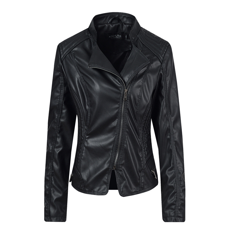 2019 Spring Women   Leather   Jacket PU   Leather   Jacket Black Turn-Down Collar Zipper Short Ladies   Leather   Jacket Hot Model