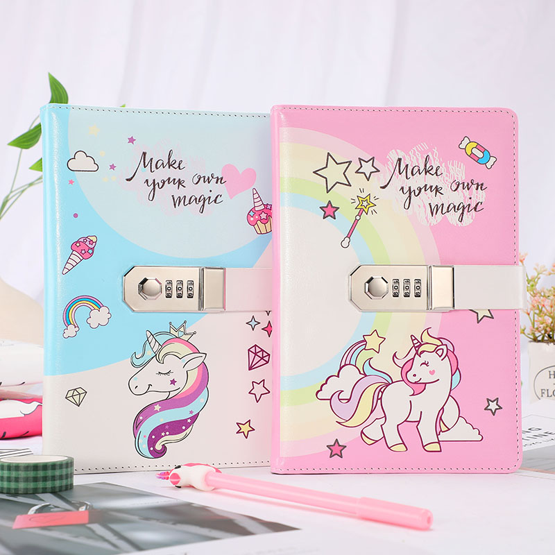 Image 3 - A5 Cute Unicorn Thicken Password Notebook with Code Lock Refillable Planner Daily Memos Kawaii Girls Diary Notebook Journal GiftNotebooks   -