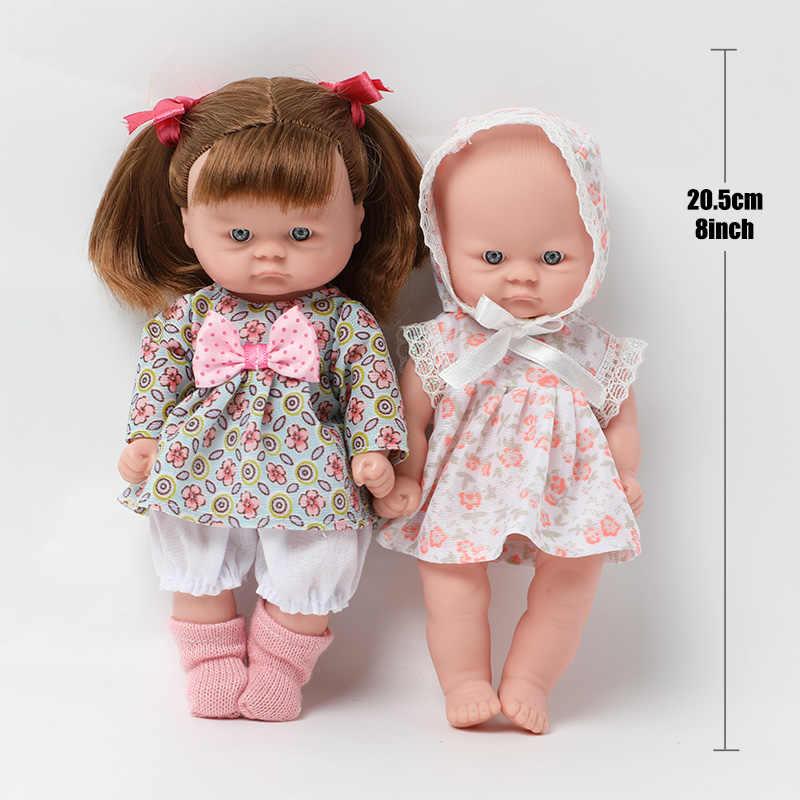 8 นิ้วจำลองBebe Rebornซิลิโคน 20.5 ซม.สมจริงกันน้ำเด็กBraidsตุ๊กตากระโปรงดอกไม้ชุดสำหรับของเล่นเด็กของขวัญ
