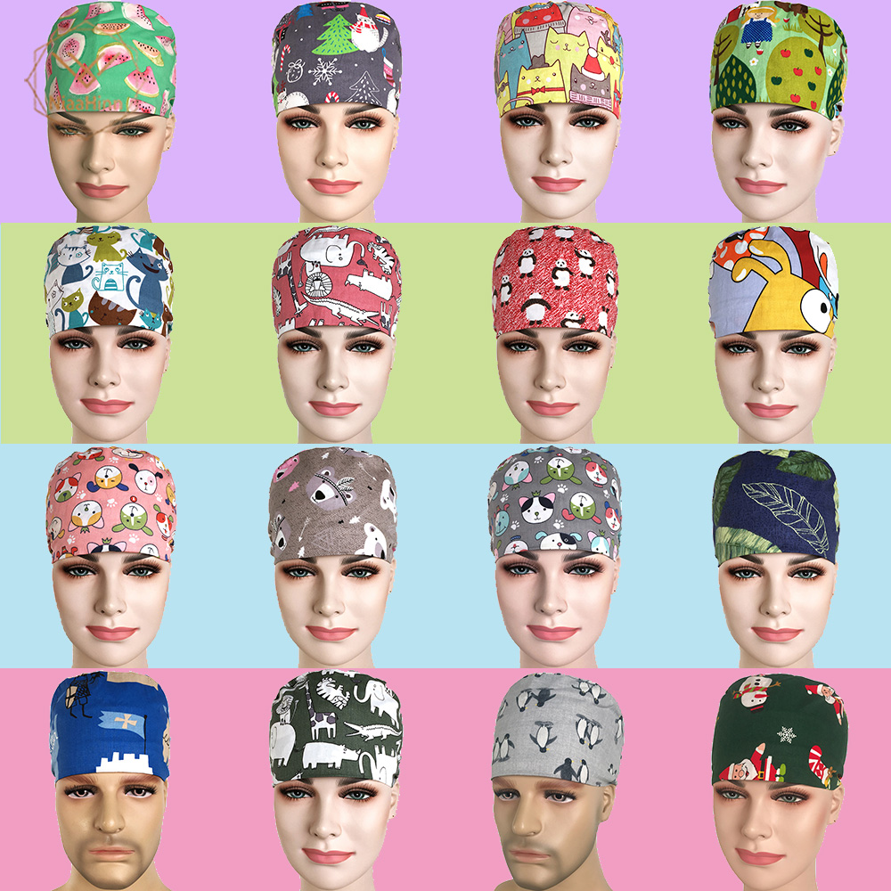 17 Colors Medical Surgical Surgery Hat Nurse Doctor Printing Cotton Cap With Sweatband Men Women Pet Dentist Beauty Work Hats