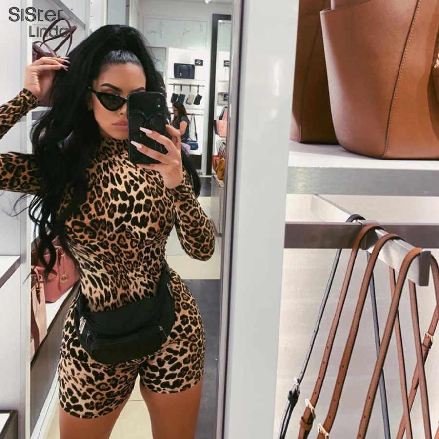 Sisterlinda Sexy Leopard garnitur krótki kombinezon kobiety 2019 nowa seksowna na jesień moda Slim obcisły kombinezon kobiety Leopard body Mujer