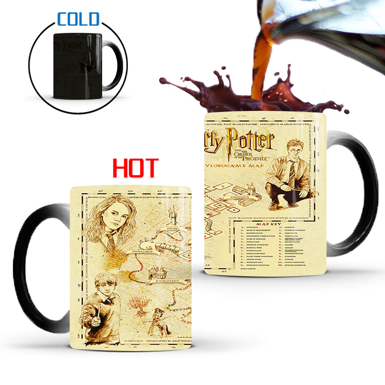 World map Ceramic Thermochromic Coffee Mug Color Change Mug Water Mug Cups and Mugs Coffee Cup image