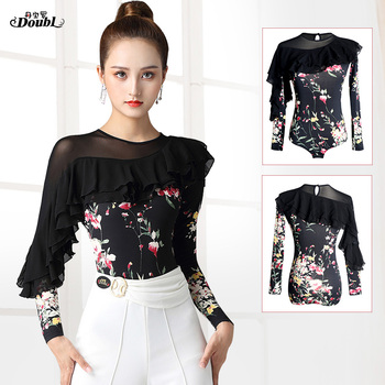 dance clothes top new ladies modern arrival long sleeve fashion printing national standard Latin