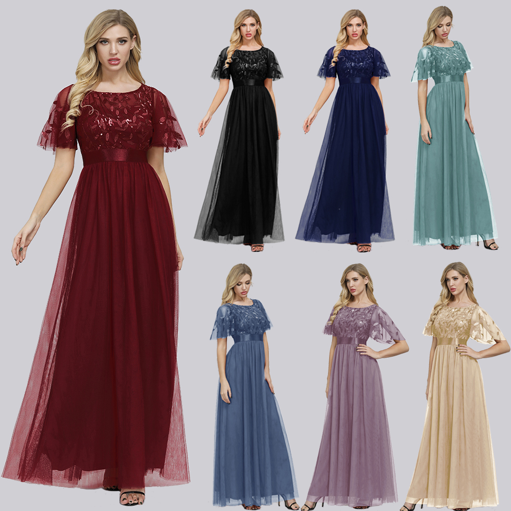 Robe De Soiree Sparkle Evening Dresses Long A-Line O-Neck Short Sleeve Formal Dresses Women Elegant Gowns Sequined Tulle Vestido