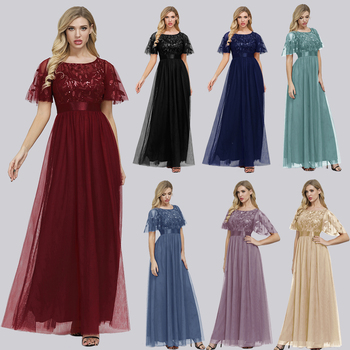 Robe De Soiree Sparkle Evening Dresses Long A-Line O-Neck Short Sleeve Formal Dresses Women Elegant Gowns Sequined Tulle Vestido 2020 elegant navy blue half sleeve evening dresses sequined sexy o neck abendkleider formal party long prom gowns robe de soiree