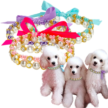 Crystal Pearl Dog Necklace Collar Bowknot Puppy Cat Jewelry Cute color Elastic Pet For Small Chihuahua D40