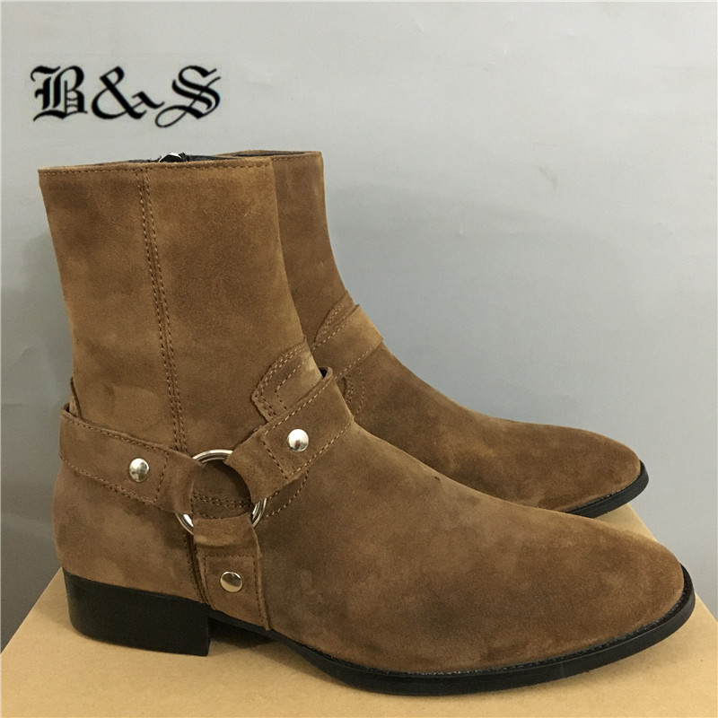 Black& Street DARK Brown  Wyatt Harry Buckle Ring Strap harness men Boots Wedge Leather Denim Banquet Real leather Boots