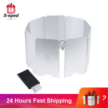 Screen Windshield Gas-Stove Foldable Picnic X-Eped Aluminum-Alloy 9-Plates Outdoor Windproof