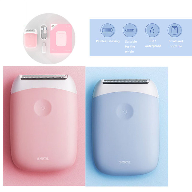 SMATE 3in1 Mini Electric Hair Shaver Portable Waterproof USB Rechargeable Hair Removal Clipper Clean Comfortable