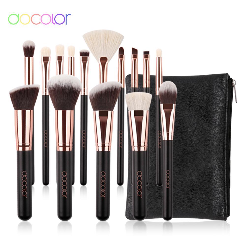Docolor Makeup Brushes Professional Natural Make Up Brushes Set Foundation Powder Contour Eyes Blending Beauty Cosmetic Brushes