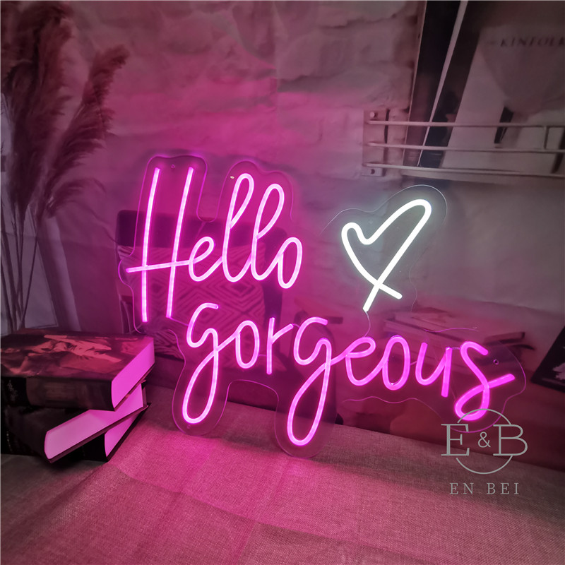 Custom Made Neon Sign for Hello Gorgeous LED Lights Wall Party Wedding Shop Window Restaurant Birthday Decoration