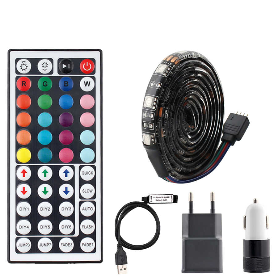DC 5V USB Lampu LED Strip RGB TV Backlight SMD 5050 Tahan Air 5V RGB USB LED Strip Pita lampu Ambilight 44key Remote Control