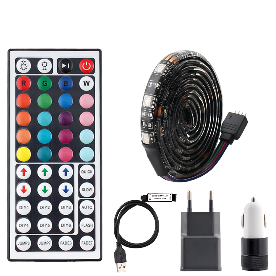 DC 5V USB LED Lights Strip RGB TV Backlight SMD 5050 Waterproof 5V RGB USB Led Strip Ribbon Light Ambilight 44key Remote Control