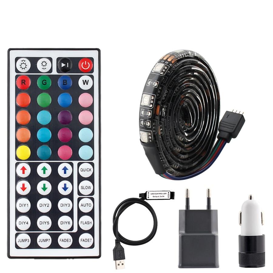 DC 5V USB LED luces Led tira RGB TV de luz SMD 5050 impermeable 5V RGB USB LED franja de luz de cinta Ambilight 44key Control remoto