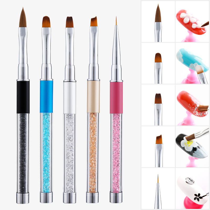 1pcs Nail Brush Rhinestone Acrylic Pen Carving Nail Art Tips Painting Poly Gel Tool Liner UV Gel Manicure Accessories Tool Set