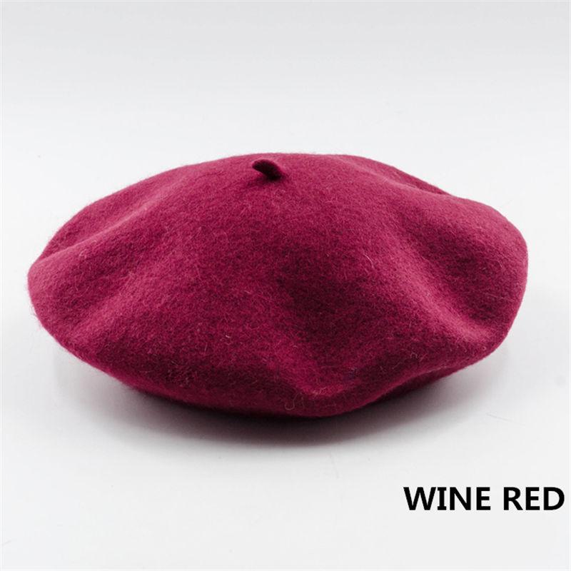 Винтажный простой берет, шапка бини, шапка во французском стиле для женщин и девочек, шерстяная теплая зимняя шапка, женские шапки, шапка уличной моды - Цвет: Wine red