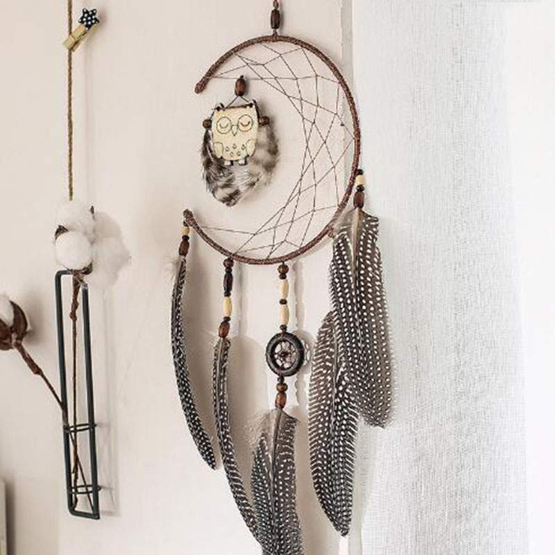 Scandinavian Style Owl Dream catcher Ornaments Room Pendant Filter Monternet Gift Car Home Wall Bedroom Hanging Decor Ornament in Wind Chimes Hanging Decorations from Home Garden